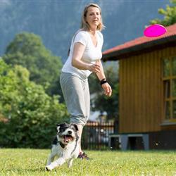 Frau mit Hund beim Frisbee Spielen auf Aussenplatz vom Hundesporthotel Wolf